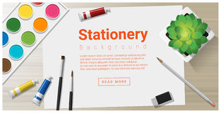 Stationery background with school supplies on wooden table Royalty Free Stock Photos
