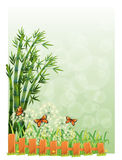 A stationery with bamboos and butterflies Royalty Free Stock Image