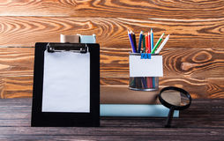 Stationery on boards Stock Photos