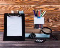 Stationery on boards Royalty Free Stock Images