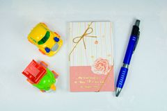 Stationery. Book Stationery Pen is of Royalty Free Stock Photo