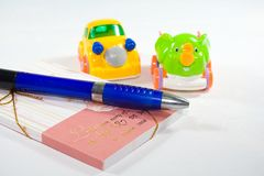 Stationery. Book Stationery Pen is of Royalty Free Stock Image