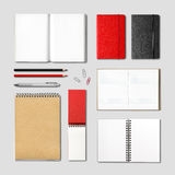 Stationery books and notebooks mockup Stock Image