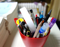Stationery box in teachers office Royalty Free Stock Image