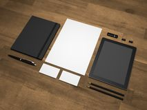 Stationery branding mock-up 3D illustration on wooden background Royalty Free Stock Image