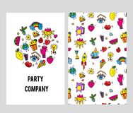Stationery cards set for the company with parties organization. Vector  illustration. Stationery cards set for the company with parties organization. Vector vector illustration