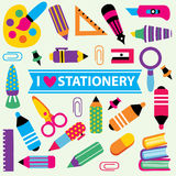 Stationery clip art set. Cute stationery clip art set Stock Images