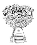 Stationery collection. Outline style. Back to school thin line vector doodle illustration template  on white Stock Photos