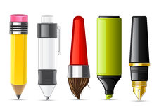Stationery collection. Set of objects for school on white background Vector Illustration