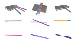 Stationery. A collection of stationery on a white background Stock Photography