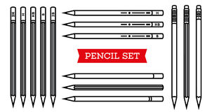 Stationery collection. Writing tools. Pencil set. Outline style. Pencil thin line vector icons with diferent classic royalty free illustration