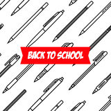 Stationery collection. Writing tools. Pens and Pencils pattern. Outline style. Pencil and pens thin line vector icons Royalty Free Stock Photos