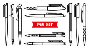 Stationery collection. Writing tools. Pens set. Outline style. Ballpoint thin line vector icons. Biro, Fountain pen, gel Royalty Free Stock Photo