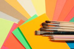Stationery on colored papers Stock Photo
