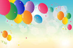 A stationery with colorful balloons Royalty Free Stock Images