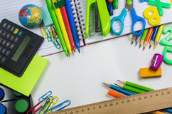 Stationery. Colorful pencils and materials Royalty Free Stock Images