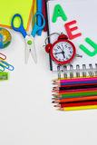 Stationery. The Stationery; colorful pencils on white background Royalty Free Stock Image