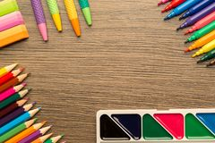 Stationery colorful writing tools accessories, with copy space stock photo