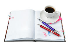 Stationery and cup of coffee Royalty Free Stock Photo