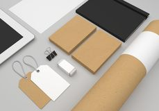 Stationery 3D illustration mockup with business cards and fashion hang tags. Stationery 3D illustration mockup with business cards, tube and fashion hang tags Royalty Free Stock Photography