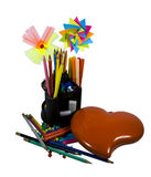 Stationery with decorate. Flowers and heart royalty free stock photo