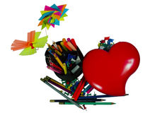 Stationery with decorate. Flowers and heart stock image
