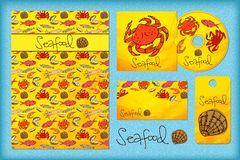 Stationery design template with seafood. Royalty Free Stock Images