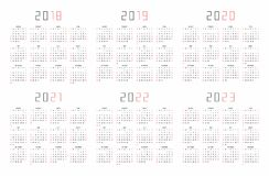 Calendar 2018, 2019, 2020, 2021, 2022, 2023 Stock Images