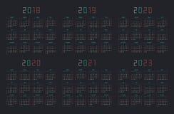 Calendar 2018, 2019, 2020, 2021, 2022, 2023 Royalty Free Stock Photo