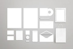Stationery on desk. Blank white items for mockup Stock Images