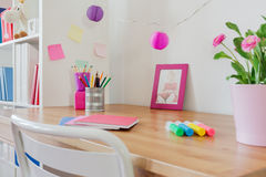Stationery on the desk. In kid's room Royalty Free Stock Images