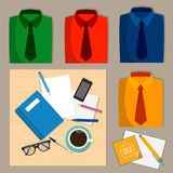 Stationery on the desk and a set of colored shirts, office style. royalty free illustration