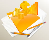 Stationery, diagram, coins and dollar Stock Photos