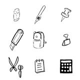 Stationery drawing icons cartoon Stock Photo