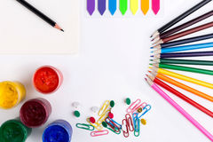 Stationery and drawing items Stock Photo