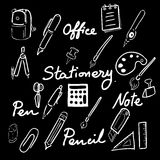 Stationery drawing office icons set Royalty Free Stock Photos