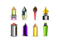 Stationery. Eight different objects on white background Stock Illustration