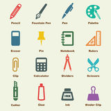 Stationery elements. Vector infographic icons Stock Image