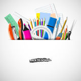 Stationery equipment. Back to school background with blackboard and school supplies. Office and school supplies. Vector realistic illustration Royalty Free Stock Photo