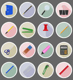 Stationery equipment set flat icons vector illustration Royalty Free Stock Photos