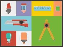 Stationery flat icon sets Royalty Free Stock Image