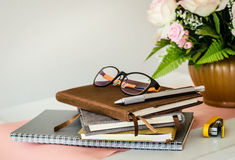 Stationery with flowerpot ,Still life Royalty Free Stock Photo