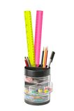 Stationery in glass Stock Photos