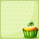 A stationery with a green cupcake Stock Photos