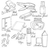 Stationery Hand drawn sketched  illustration. Doodle accessories Stock Images