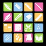 Stationery Icon Set Royalty Free Stock Photography