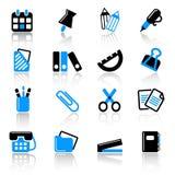 Stationery icons. 16 stationery icons on white background Royalty Free Stock Photography