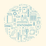 Stationery Icons In Circle Stock Photography
