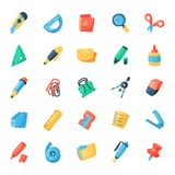 Stationery icons office supply vectorschool tools and accessories set education assortment pencil marker pen isolated on. White background illustration Royalty Free Stock Photography