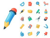 Stationery icons office supply vectorschool tools and accessories set education assortment pencil marker pen isolated on. White background illustration Royalty Free Stock Photos
